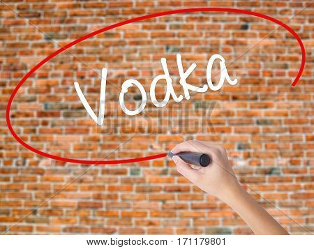 Woman Hand Writing Vodka  With Black Marker On Visual Screen