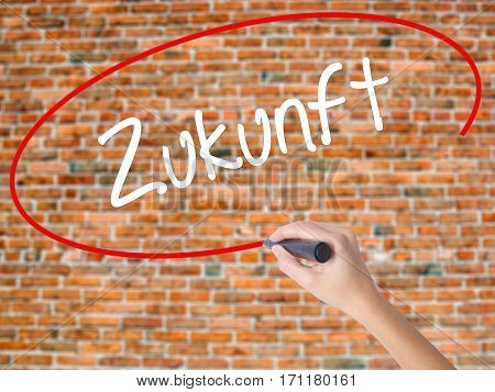 Woman Hand Writing Zukunft (future In German)  With Black Marker On Visual Screen