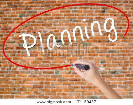 Woman Hand Writing Planning With Black Marker On Visual Screen
