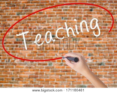 Woman Hand Writing Teaching With Black Marker On Visual Screen