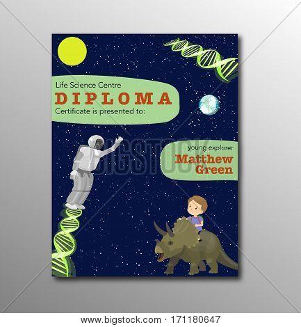 Certificate Kids Diploma, Children Kindergarten Template Layout Space Background Design Vector. Educ