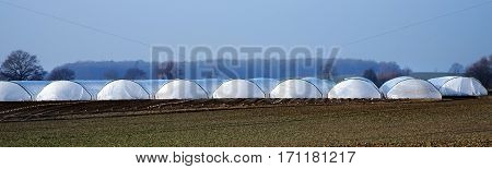 greenhouse tunnel from polythene plastic on an agricultural field long panorama format