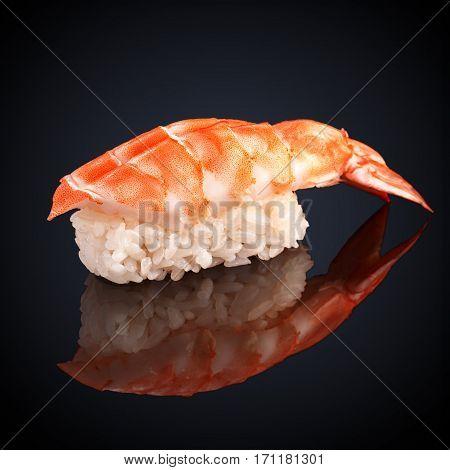 Ebi Sushi with shrimp on a black background