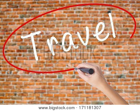 Woman Hand Writing Travel  With Black Marker On Visual Screen