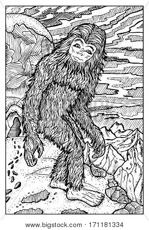Snowman or Yeti. Fantasy creatures collection. Hand drawn vector illustration. Engraved line art drawing, black and white doodle