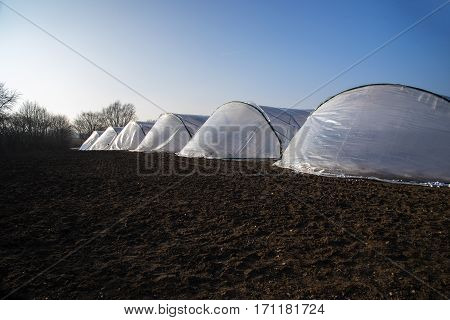 greenhouse tunnels from polythene plastic in a row on an agricultural field with brown soil against the blue sky copy space