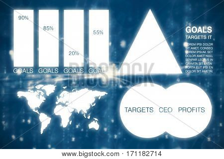 Graphic image of business presentation with charts and map against digitally generated image of abstract pattern