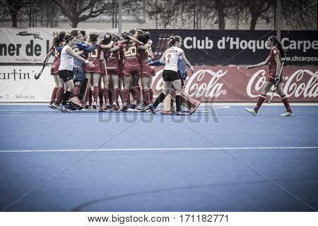 VALENCIA, SPAIN - FEBRUARY 12: Spain team win the match during Hockey World League Round 2 Final match between Spain and Poland at Betero Stadium on February 12, 2017 in Valencia, Spain