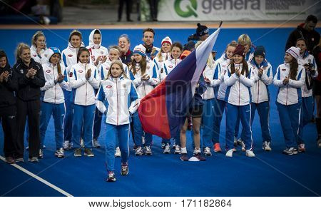 VALENCIA, SPAIN - FEBRUARY 12: Russian team during Hockey World League Round 2 Final match between Spain and Poland at Betero Stadium on February 12, 2017 in Valencia, Spain
