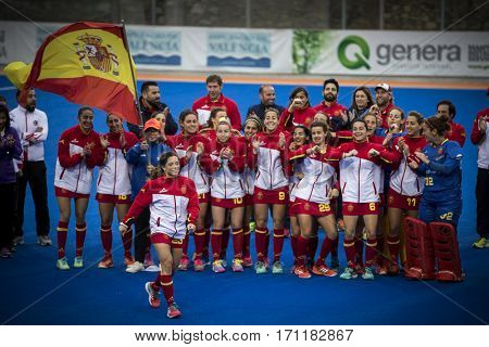 VALENCIA, SPAIN - FEBRUARY 12: Spanish team during Hockey World League Round 2 Final match between Spain and Poland at Betero Stadium on February 12, 2017 in Valencia, Spain