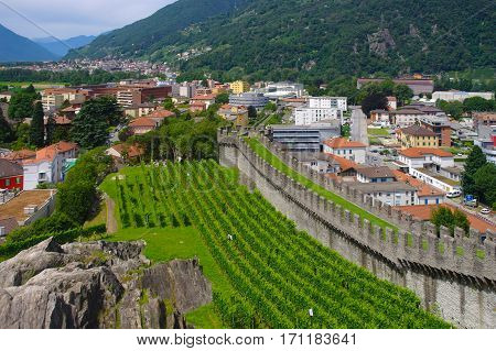 City Wall Of Bellinzona, Ticino, Switzarland
