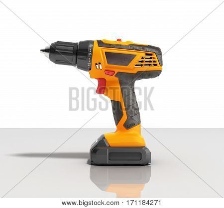 Combi Drill Impact Drill And Screw Driver On Glass Background 3D Render