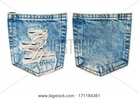 Blue jeans pocket isolated on white .