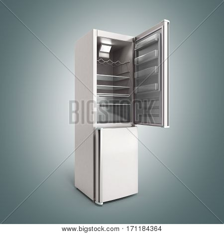 Stainless Steel Modern Open Refrigerator On Grey 3D Illustration