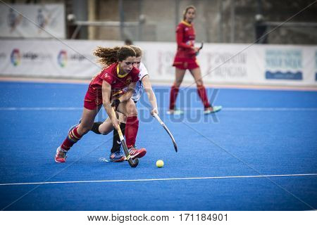 VALENCIA, SPAIN - FEBRUARY 12: Oliva with ball during Hockey World League Round 2 Final match between Spain and Poland at Betero Stadium on February 12, 2017 in Valencia, Spain