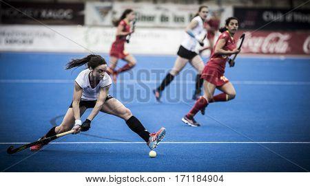 VALENCIA, SPAIN - FEBRUARY 12: Marlena Rybacha with ball during Hockey World League Round 2 Final match between Spain and Poland at Betero Stadium on February 12, 2017 in Valencia, Spain