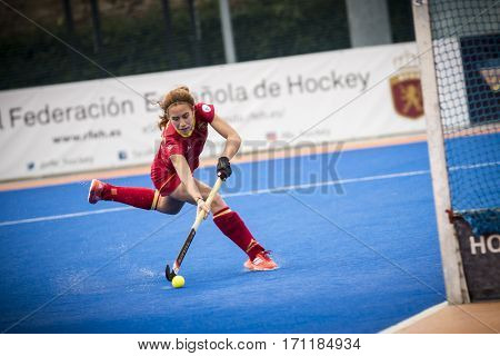 VALENCIA, SPAIN - FEBRUARY 12: Bego Garcia scores goal during Hockey World League Round 2 Final match between Spain and Poland at Betero Stadium on February 12, 2017 in Valencia, Spain