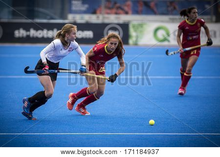 VALENCIA, SPAIN - FEBRUARY 12: (L) Polewczak (R) Garcia during Hockey World League Round 2 Final match between Spain and Poland at Betero Stadium on February 12, 2017 in Valencia, Spain