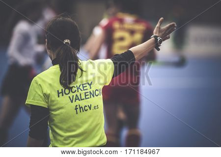 VALENCIA, SPAIN - FEBRUARY 12: Referee during Hockey World League Round 2 Final match between Spain and Poland at Betero Stadium on February 12, 2017 in Valencia, Spain