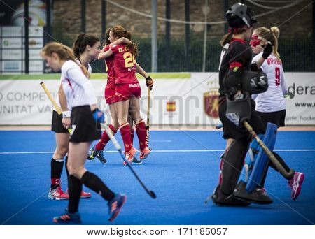 VALENCIA, SPAIN - FEBRUARY 12: Garcia celebrates her goal during Hockey World League Round 2 Final match between Spain and Poland at Betero Stadium on February 12, 2017 in Valencia, Spain
