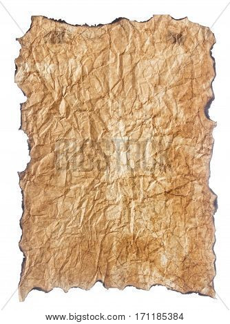 texture of crumpled vintage paper with burnt edges isolated on white background