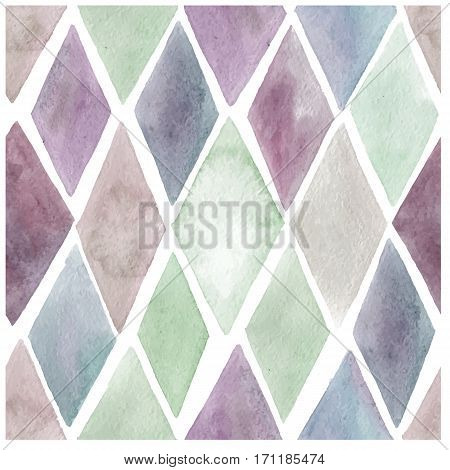 Watercolor seamless pattern. Vector illustration. Bright, trendy pattern with rhombus