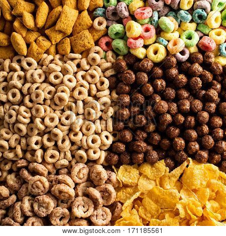 Variety of cold cereals, quick breakfast for kids overhead shot