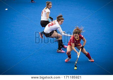 VALENCIA, SPAIN - FEBRUARY 12: Georgina Oliva during Hockey World League Round 2 Final match between Spain and Poland at Betero Stadium on February 12, 2017 in Valencia, Spain