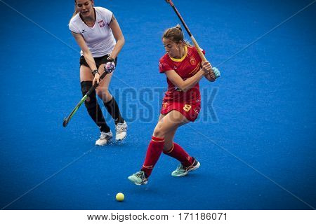 VALENCIA, SPAIN - FEBRUARY 12: 9 Maria Lopez during Hockey World League Round 2 Final match between Spain and Poland at Betero Stadium on February 12, 2017 in Valencia, Spain