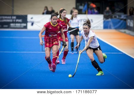 VALENCIA, SPAIN - FEBRUARY 12: Katerla with ball during Hockey World League Round 2 Final match between Spain and Poland at Betero Stadium on February 12, 2017 in Valencia, Spain