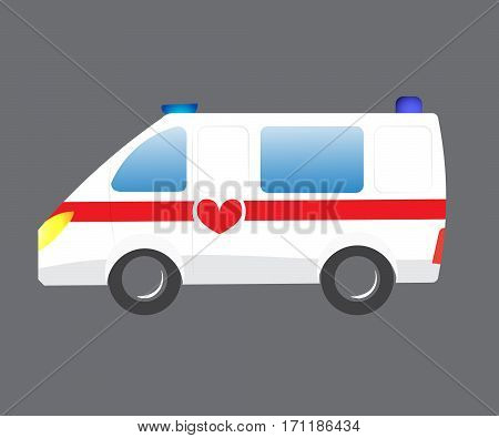 Vector illustration ambulance car on bgray background. Ambulance auto paramedic emergency. Ambulance vehicle medical evacuation. Cartoon ambulance silhouette
