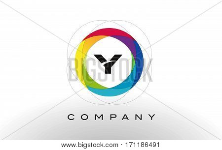Y Letter Logo with Rainbow Circle Design. Colorful Rounded Circular Letter Design