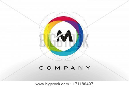 M Letter Logo with Rainbow Circle Design. Colorful Rounded Circular Letter Design