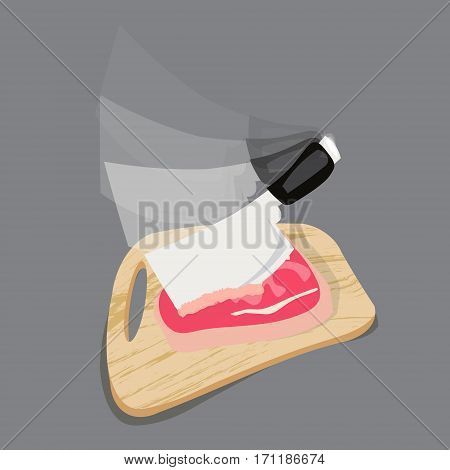 chopping cutting board with meat and a knife for slicing on the old wooden background with space for text. in move. dynamics
