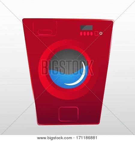 red washing machine in flat style. isolated on gray background. modern vector illustration. cartoom style. water inside.