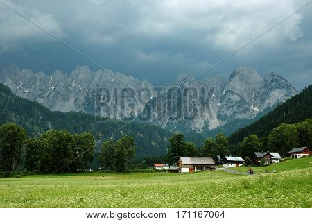 Alpine Dachstein mountain range before the storm, Austria