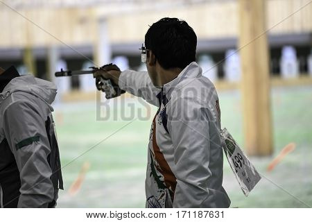 Rio Brazil - august 10 2016: RAI Jitu (IND) during shooting 50m Pistol Men Shooting at Olympic Games 2016 in Olympic Shooting Centre Deodoro