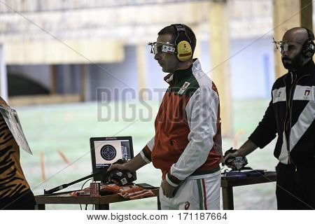 Rio Brazil - august 10 2016: DONKOV Samuil (BUL) during shooting 50m Pistol Men Shooting at Olympic Games 2016 in Olympic Shooting Centre Deodoro