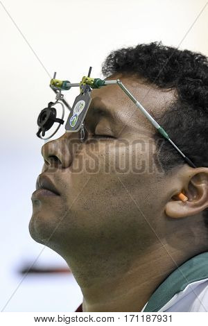 Rio Brazil - august 10 2016: KNIJNENBURG Rudolf (BOL) during shooting 50m Pistol Men Shooting at Olympic Games 2016 in Olympic Shooting Centre Deodoro