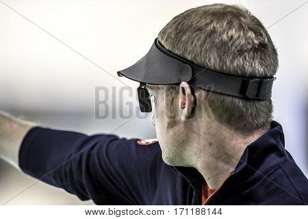 Rio Brazil - august 10 2016: BROWN Will (USA) during shooting 50m Pistol Men Shooting at Olympic Games 2016 in Olympic Shooting Centre Deodoro