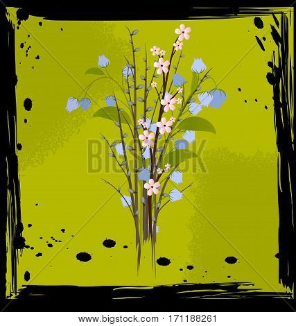 black background with green abstract and colored fantasy bouquet of flowers