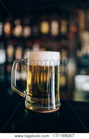 One glass of beers in a pub