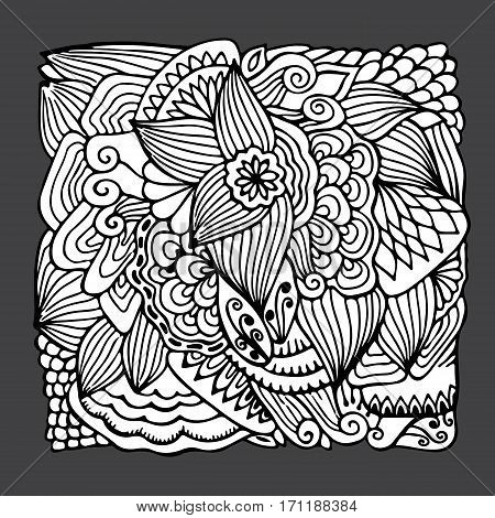 stock vector hand draw abstract flower doodle wave pattern. background and template