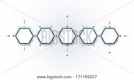 Vector molecule with 3D paper label, integrated Hexagon background. Blank space for content, business, infographic diagram, digital network, flowchart, timeline process. Social network connection technology concept