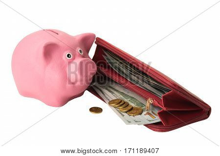 pink piggy bank next to a purse with money on a white background