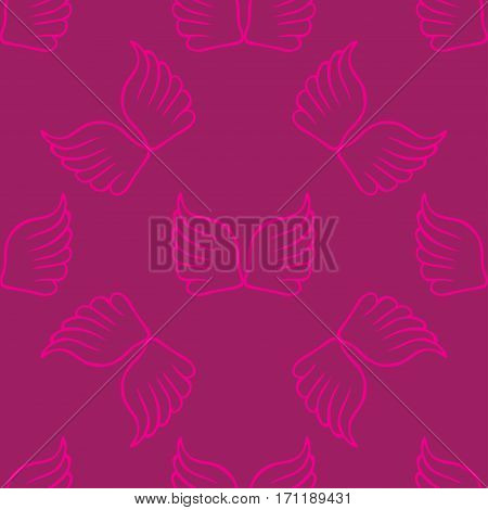 Angel wings seamless lilac pink pattern. Vector illustration