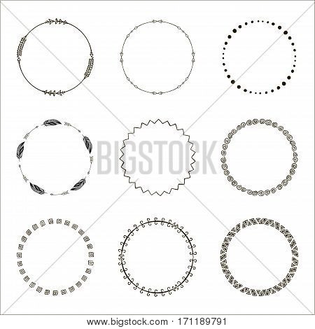 Set of hand drawn ethnic circle frames. Doodles style. Tribal native aztec vector illustration. Decorative isolated elements, border, label for text. Ink collection of symbols.