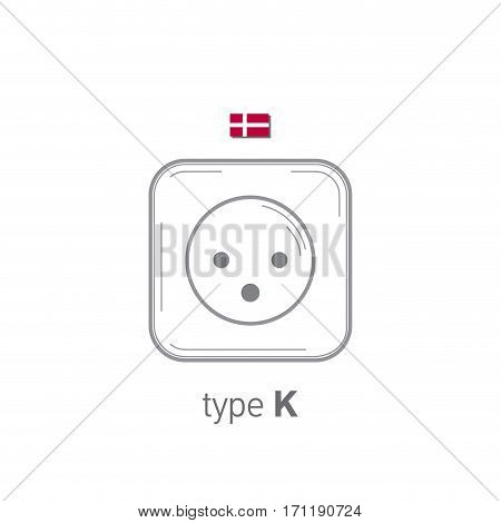 Sockets icon. Type K. AC power sockets realistic illustration. Different type power socket set, vector isolated icon illustration for different country plugs