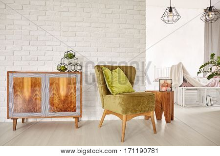 Wooden Commode And Armchair