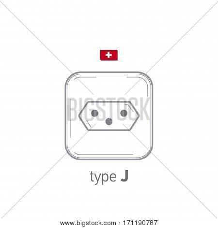 Sockets icon. Type J. AC power sockets realistic illustration. Different type power socket set, vector isolated icon illustration for different country plugs